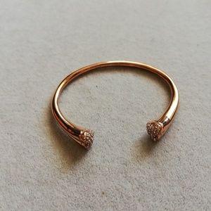 Michale kors pave heart bracelet bangle rose gold